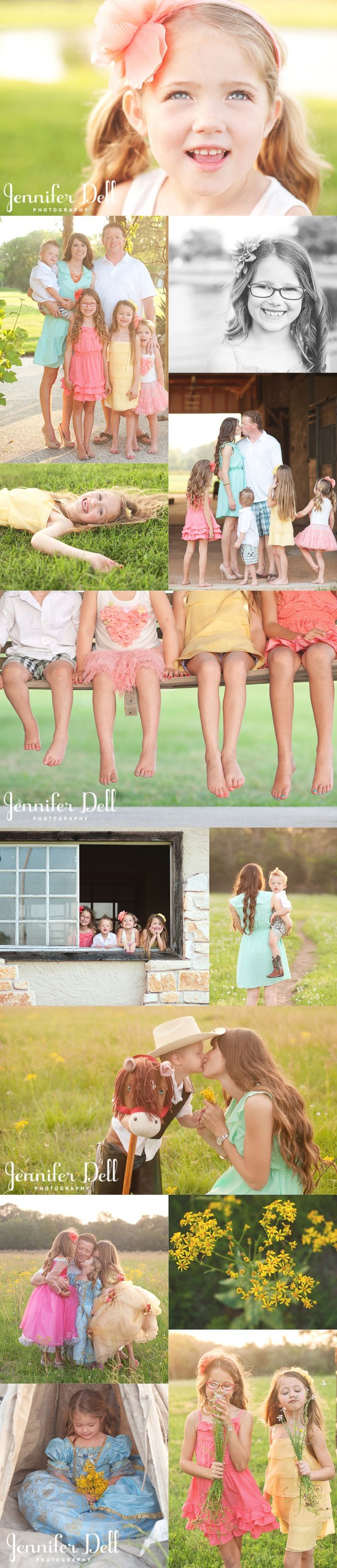 family photography © Jennifer Dell photography - Love the outfit color choices!  Perfect example of how great outfits completely make a great portrait!