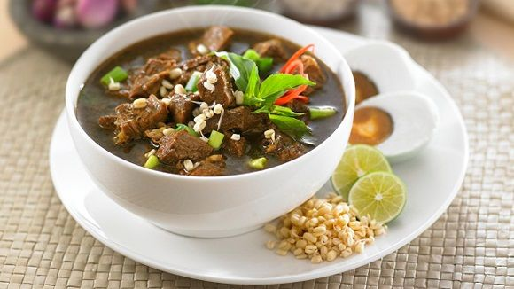Rawon--Indonesian black beef stew.  Don't be misled by its black color--it's so yummy!  Special ingredient: kluwek (the fruit of the pangium edule tree).  A popular dish in East Java