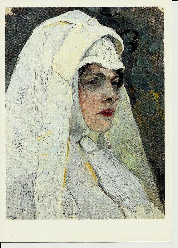 Portrait of Nun  Vintage Russian Postcard Artwork  by LucyMarket