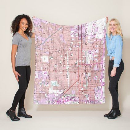 Vintage Map of Phoenix Arizona (1952) 2 Fleece Blanket - vintage gifts retro ideas cyo