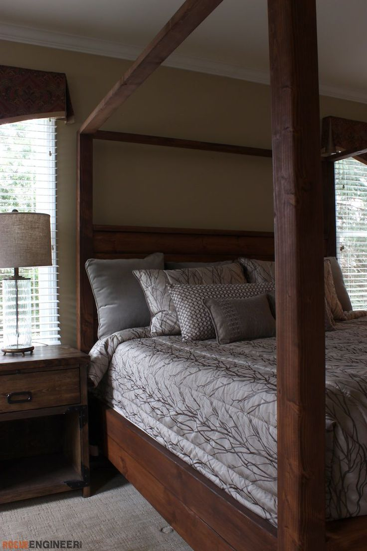 DIY King Size Canopy Bed Plans - Free DIY Plans   rogueengineer.com #KingSizeCanopyBed #BedroomDIYplans