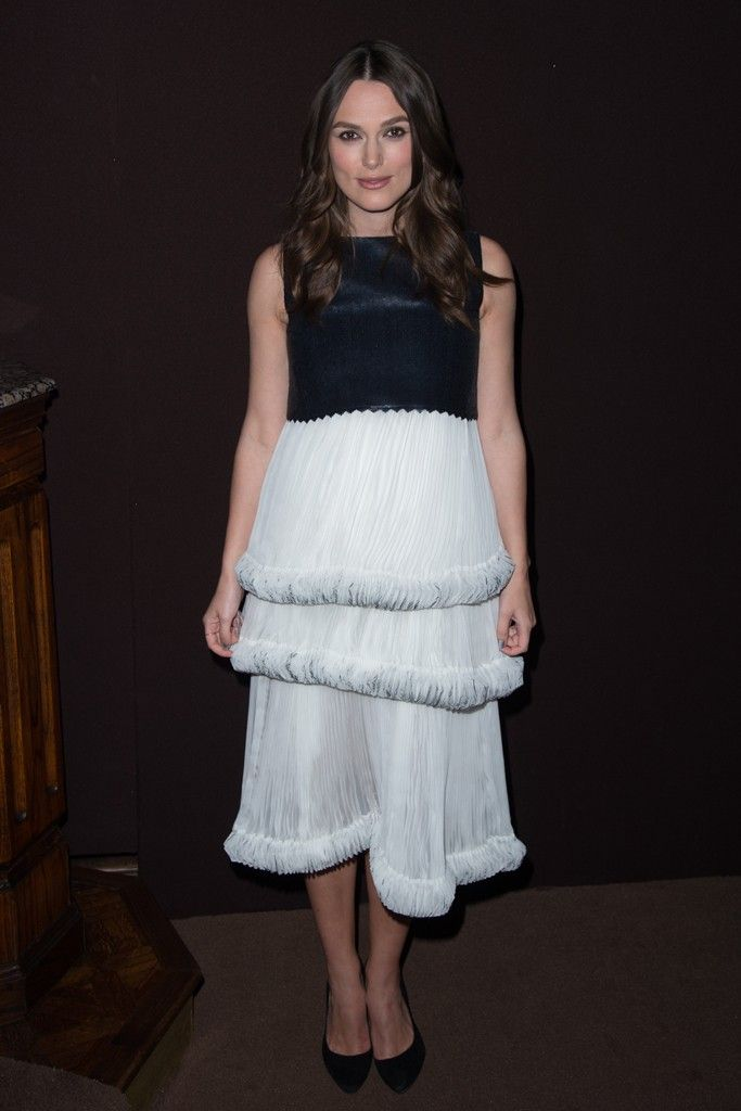 Keira Knightley in Chanel at Chanel and Charles Finch's annual Oscar dinner. [Photo by Tyler Boye]