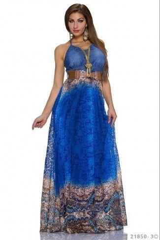Εντυπωσιακό μάξι φόρεμα με ζώνη - Μπλε Ρουαγιάλ Πολύχρωμο