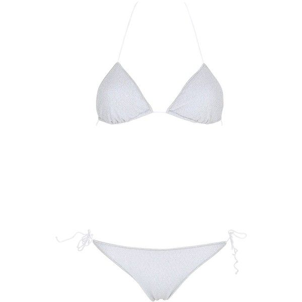 Oséree Swimwear Women Lurex & Lycra Triangle Bikini (6.365 UYU) ❤ liked on Polyvore featuring swimwear, bikinis, silver, triangle halter top, triangle swim wear, spandex swimwear, triangle swimwear and triangle bikinis