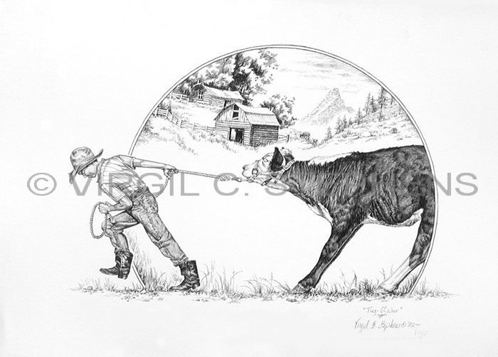 Tug o war ffa child pulling his steer pencil drawing by western artist