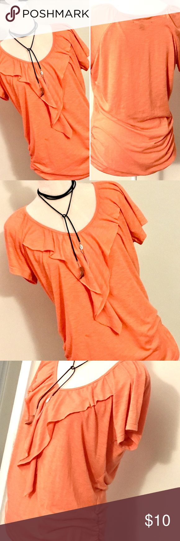 🔥Lena Coral Blouse Size L Lena Coral Blouse Size L. Color is an orange/salmon shade of coral. Not pink. Pre Owned, in good condition. There are a couple of very small stains at the front. Not noticeable tho. The last photo is including the mild two small stains. True to size, nice and long. Gathered on the size for flattering look. Let me know if you have any questions :o) Lena Tops Blouses