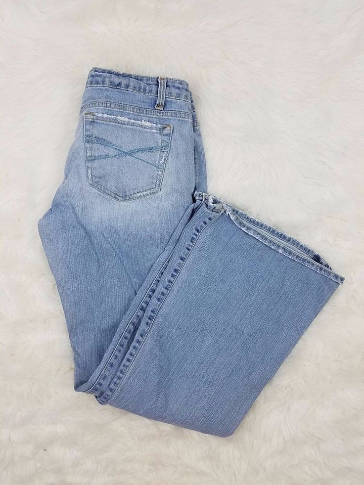 Aeropostale Womens Size 9/10S Jeans Distressed Super Flare Light Blue Denim Wash #Aropostale #Flare