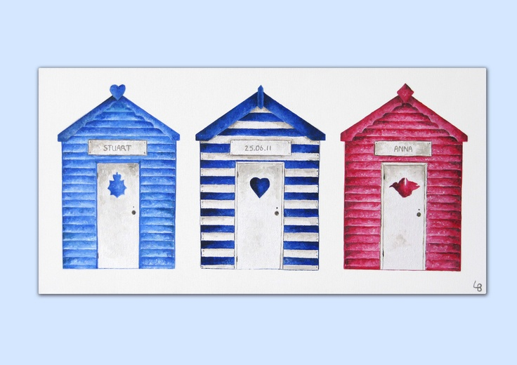 A beach hut themed wedding. An acrylics on canvas painting by Laura Bridgford Art