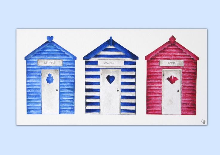 A beach hut themed wedding. An acrylics on canvas painting by Laura Bridgford Art