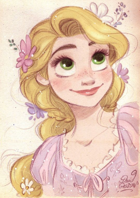 Fanart of Rapunzel from Disney's Tangled by David Gilson. This is a great example of how Rapunzel's hair can be used to express her emotions.