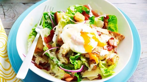 Warm chicken caesar salad
