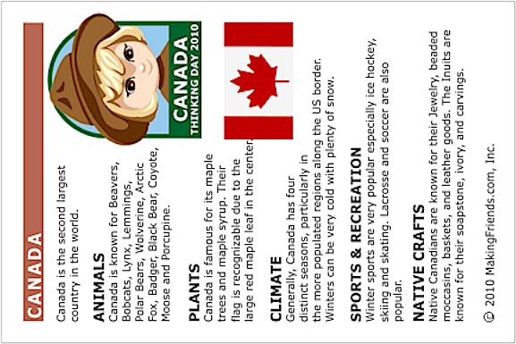Fact Card for Canada. Print this page out and put it into your Girl Scout Thinking Day Passport. For more countries check out MakingFriends.com