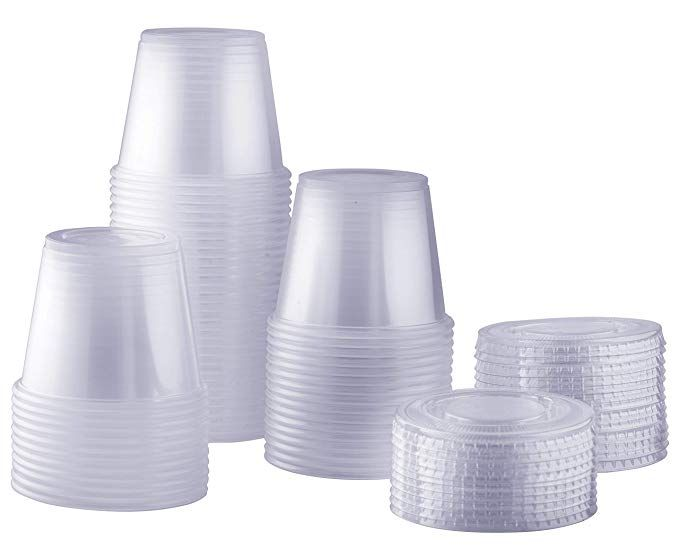 100 Sets 5 5 Oz Plastic Disposable Portion Cups With Lids Souffle Cups Condiment Cups Cup Disposable Slime Containers
