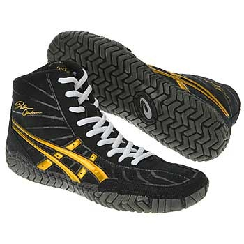 orange and grey asics wrestling shoes