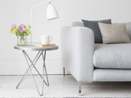 What do you call a concrete-style side table? Seriously cool. What do you call a concrete-style side table with metal legs? Still SERIOUSLY cool.