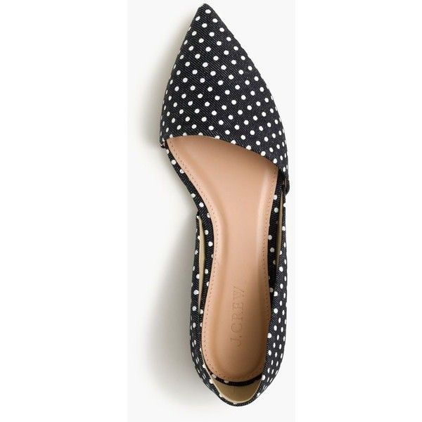 J.Crew Sloan D'orsay Flats ($165) ❤ liked on Polyvore featuring shoes, flats, polka dots, d'orsay flats, d'orsay shoes, denim flat shoes, summer flats and summer shoes