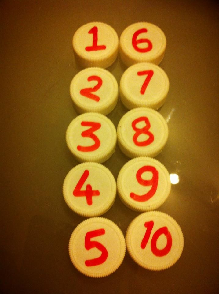 Number teaching aids - Bottle caps reuse #ThinkCreateCraft: