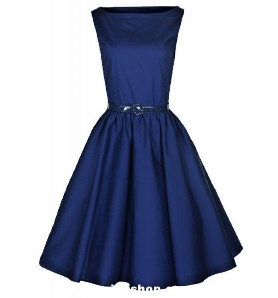 Retro šaty ve stylu 50. let. šaty pro plnoštíhlé dámy. nádherné šaty v královské modré, doplněné páskem.