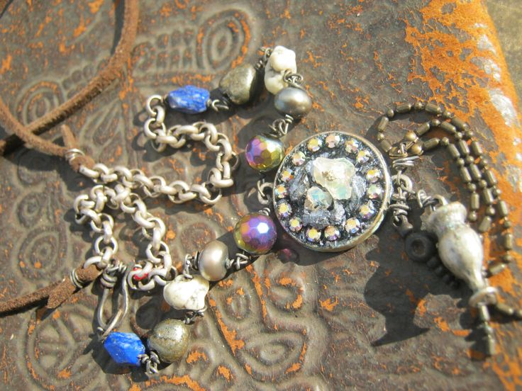 Bohemian beauty natural opal hematite lapis pearls repurposed art artisan statement upcycled necklace by KaRaExquisiteJewelry on Etsy