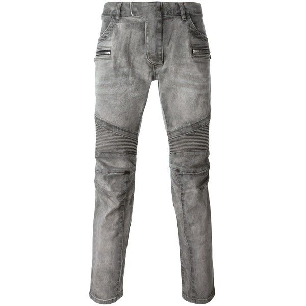Balmain Cotton Stretch Jeans ($915) ❤ liked on Polyvore featuring men's fashion, men's clothing, men's jeans, grey, mens grey skinny jeans, balmain mens jeans, mens bleached jeans, mens gray jeans and mens grey jeans