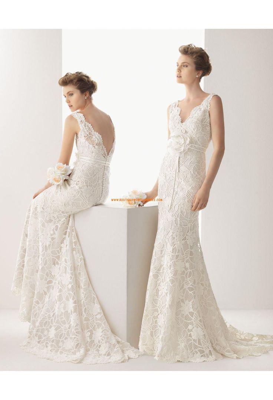 Robe de mariée col V dentelle avec fleur  Robe de mariée 2014 ...