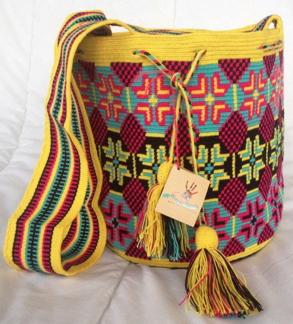 Wayuu tribe mochila bags (handmade) ANACHONWAA: yellow, pink, blue, black and green.