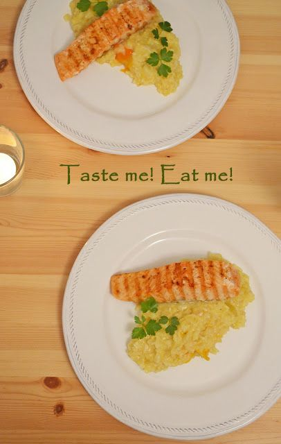 Taste me! Eat me!: Rissoto pomarańczowe z papryką i grillowanym łosos...