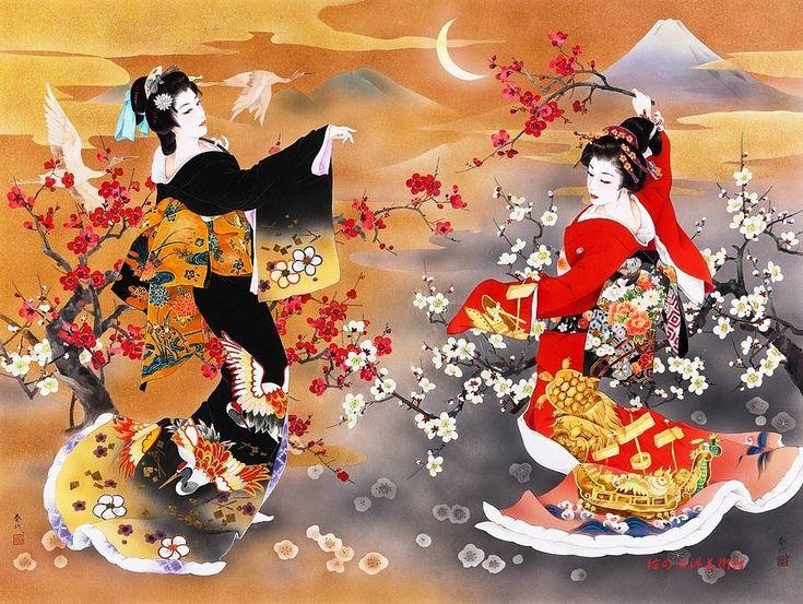 Geisha girl fan umbrella kimono circles japanese chinese vector design pattern blue red stock illustration