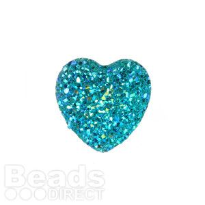 Aqua AB Sparkly Resin Heart Flat Back Cabochon 25x25mm Pk5
