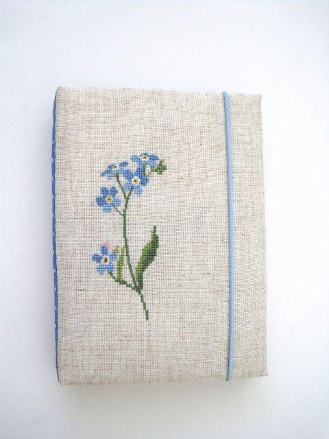 блокнот ручной работы вышивка cross stitch hand made notebook forget me not незабудки Christiane Dahlbeck