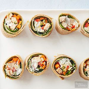 Fresh vegetable strips add crunch to these healthy chicken wraps.