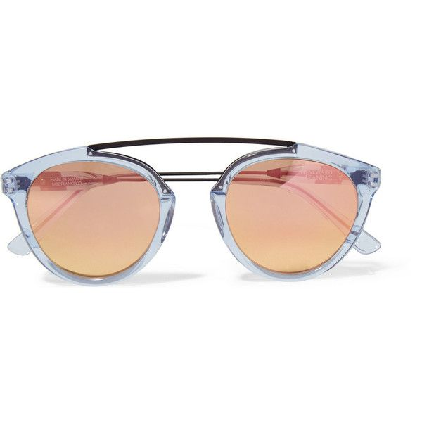 Westward Leaning x Olivia Palermo Flower 14 aviator-style acetate and... found on Polyvore featuring accessories, eyewear, sunglasses, glasses, sunnies, mirror sunglasses, blue mirror sunglasses, blue aviator sunglasses, metal aviator sunglasses and aviator sunglasses