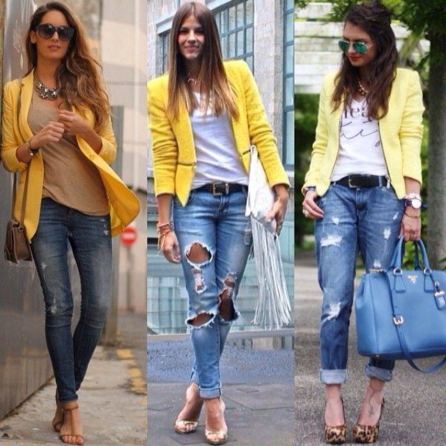 gele blazer draag je zo