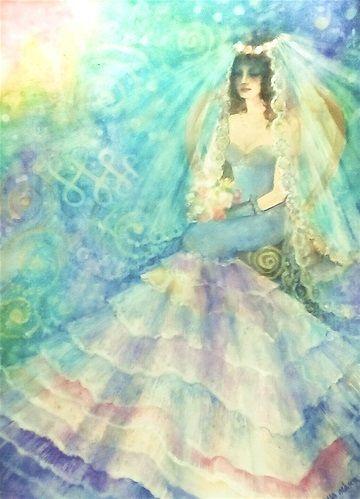 Mermaid bride - Sellő menyasszony - Aquarelle - 30 x 40 cm - by Márta Bolla - Hungary
