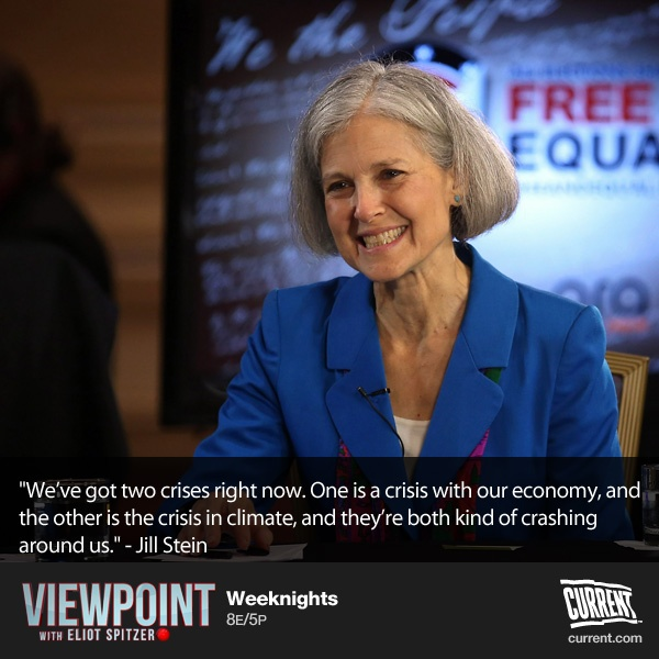 "Jill Stein: Green Party presidential candidate Jill Stein joins John Fugelsang, guest hosting on Viewpoint with Eliot Spitzer to discuss her platform and why voting for the Green Party is not a vote for Mitt Romney, but rather an opportunity to ""drive us to the solutions we need."""