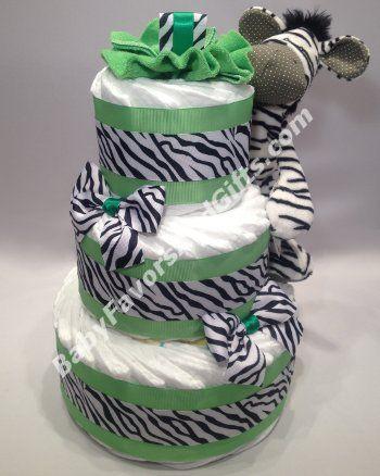 Zebra Diaper Cake #BabyBoy #DiaperCakes - by Babyfavorsandgifts