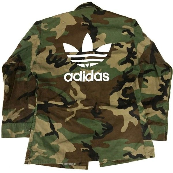 Vtg Camo Adidas Jacket (£53) ❤ liked on Polyvore featuring outerwear, jackets, brown jacket, camoflauge jacket, camo jacket, adidas and camo print jacket