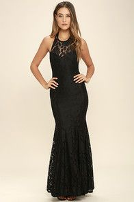 Lulus Exclusive! We're rolling out the red carpet for you and the Dark of Night Black Lace Maxi Dress! This party perfect number (made from woven fabric) features a high, rounded neckline, and princess-seamed bodice with adjustable straps that cross at back. Fitted waist opens to a full maxi skirt with panels of sheer black lace. Hidden back zipper.