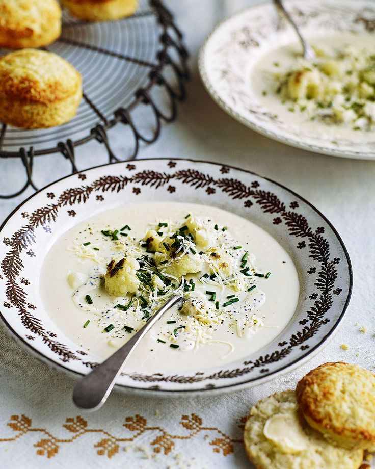Debbie major packs all the flavour of a cauliflower cheese into a warming soup. Paired with mustard seed and cheddar scones and you've got a winning winter recipe.