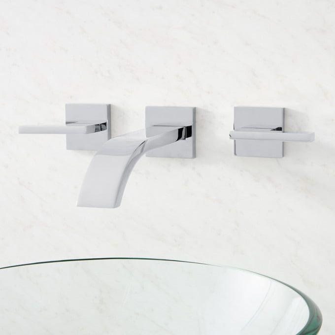 Ultra Wall Mount Bathroom Faucet Lever Handles Wall Mount