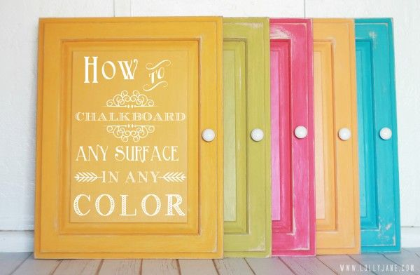 Chalkboard any surface in any color, sweet!!! via @Lolly Jane {lollyjane.com}
