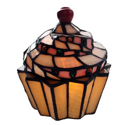 """River of Goods Stained Glass Cupcake 6.5"""" H Table Lamp with Novelty Shade"""