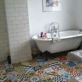 Creative Blue Moroccan Mosaic Tile Bathroom In Cape Cod