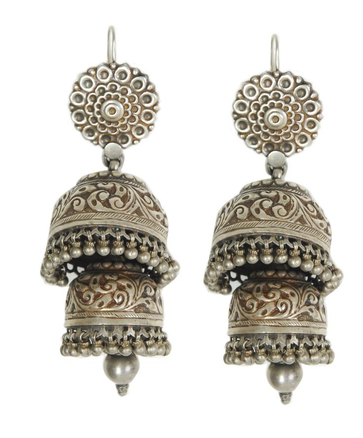 Antique silver jhumki in Jhumkas!Adore them!