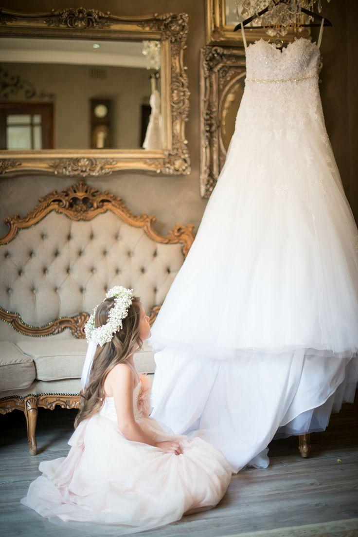 Me stunning wedding dress and me little flower girl. Dream big.