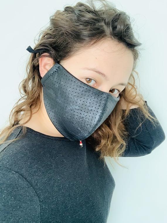 Edgy Face Mask Vegan Leather Washable Face Mask Punk Face Etsy Vegan Face Mask Fashion Face Mask Leather Mask