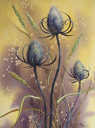 """Kerstin Birk, """"Wilde Karde und Getreide"""" Mit einem Klick auf 'Als Kunstkarte versenden' versenden Sie kostenlos dieses Werk Ihren Freunden und Bekannten."""