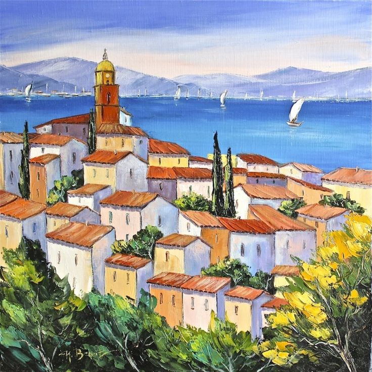 saint tropez peinture 60x60 cm 2013 par nicole benoit saint tropez provence azur mer. Black Bedroom Furniture Sets. Home Design Ideas