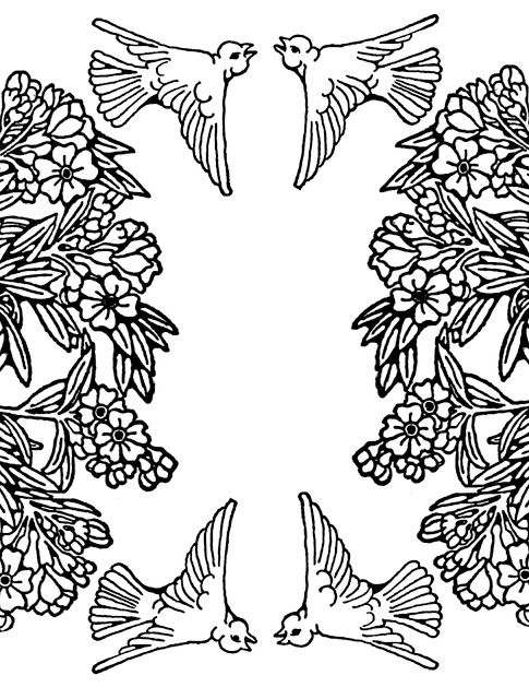Free Printable Nature Coloring Page Flying Birds Amongst Flowering