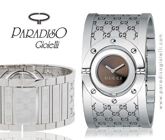 #GucciTwirlLarge : #Orologio - #BraccialeBangle in #Acciaio. L'#orologio #Twirl, #glamour e #flessibile, è contraddistinto da un #look suggestivo e un #design innovativo.